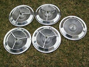 5 Pcs 1961 Dodge 2 Nos Mopar And 3 Used 14 Spinner Wheelcovers 61 Wheel Cover