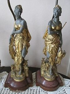 Antique French Figural Lamp Pair Neoclassical Gilt Spelter Statue Newel Post