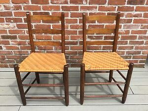 Antique Vintage Pair Ladder Back Wicker Pegged Chair Chairs Primitive Rustic
