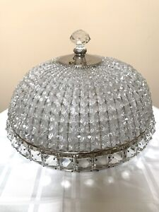 Antique French Crystal Beaded Shade Basket Chandelier Shade Flush Mount 15