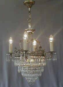 Ornate Antique French Silver Plate Bronze Crystal Chandelier