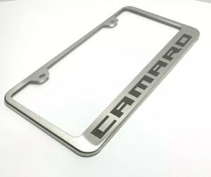 Chevy Camaro Stainless Steel License Plate Frame brushed Premium Design