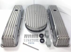 Small Block Chevy Aluminum Finned Tall Valve Covers W Finned 15 Air Cleaner