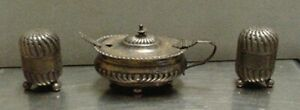 Neat Antique Horace Woodward Co Sterling Silver Master Salt Cellar And Shakers