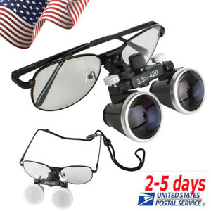 Black Metal Frame Dental Surgical Binocular Loupes 3 5x 420mm Optical Glass Sale