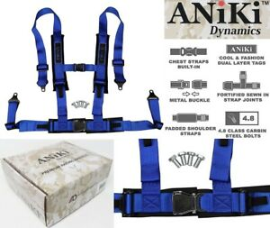 2x Aniki Blue 4 Point Aircraft Buckle Seat Belt Harness W Ultra Shoulder Pad