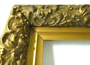 Big Antique Fits 14 X 17 Gold Picture Frame Wood Ornate Gesso Fine Art Country