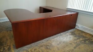 Kimball Executive u Shaped Desk Cherry Veneer Wood Left Hand