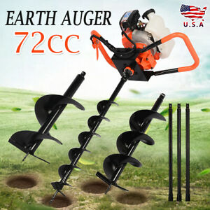 72cc Power Engine 4hp Gas Powered One Man Post Hole Digger 4 8 12 Auger Bits