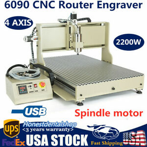 4 Axis Usb 6090 Cnc Router Engraver Milling Drilling Machine 2200w Vfd Spindle