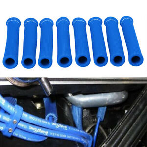 8pcs 2500 Spark Plug Wire Boots Heat Shield Protector Sleeve Cover Sbc Bbc Blue