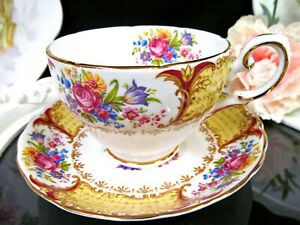 Tuscan Tea Cup And Saucer Red And Roses Floral Pattern Teacup 1930 S England