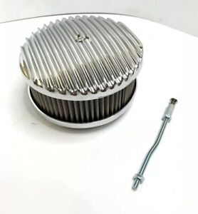 Finned Aluminum Air Cleaner Polished 4 Barrel 6 3 8 show Quality