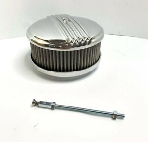 Polished Half Finned Aluminum Air Cleaner 4 Barrel 6 3 8 Show Quality