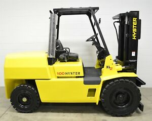 Nice Hyster H100xl 10000 Lb Diesel Pneumatic Forklift 10 000 Lb Air Tires