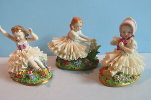 3 Sitzendorf Dresden Lace Figurines Little Girls At Play