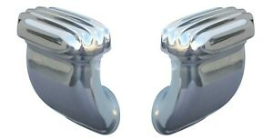 Pair Finned Valve Cover Breathers Side Angled Style Cast Polished Aluminum