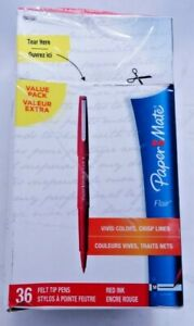 Box Of 33 Felt Tip Pens Red Ink 1921091 Open Box New