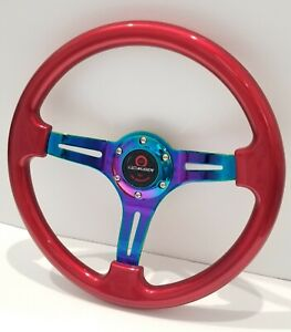 350mm 14 Universal Deep Dish Abs Racing Steering Wheel Neo Chrome Spoke Mugen