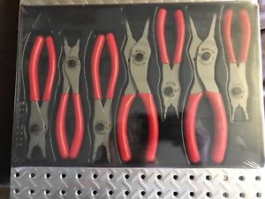 Snap On 7 Piece Snap Ring Pliers Set Srpc107 Red Handle Set New
