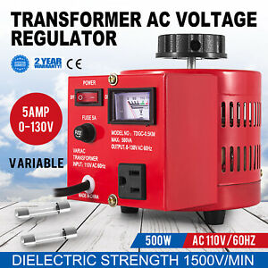 Variac Transformer Variable Ac Voltage Regulator 500w Auto Copper Coil 0 130v