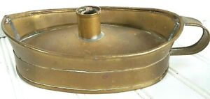 Antique Early Lighting Candle Holder Chamber Stick Rare Boat Pan Copper Brass