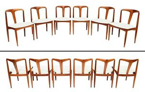 Six Uldum Johannes Andersen Sculptural Teak Juliane Dining Chairs Denmark 60 S