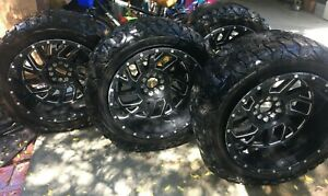 4 Black 22 In Rims With 4 Black Tires 35x12 50r22 Good Condition