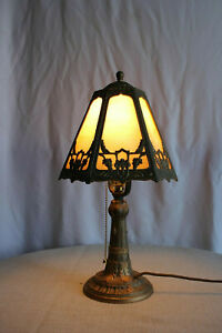 Art Deco Stained Glass And Brass Newly Wired Table Bedroom Lamp