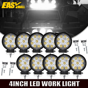 10pcs 4 Round Led Work Light Driving Fog Spot Lamps Boat Offroad Suv Ute Jeep