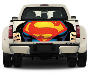 Vinyl Truck Tailgate Wrap Full Color Graphics Decal Superman Logo Trunk Sticker