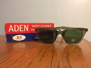Vtg Retro Aden Safety Sunglasses Glasses W Tripoic Lens Protection