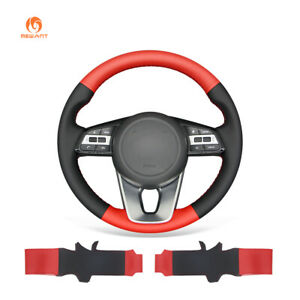 Black Red Pu Leather Car Steering Wheel Cover For Kia K5 Optima Cee d Ceed Forte