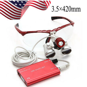 3 5x 420mm Dental Binocular Loupes Optical Glass Led Headlight For Dentist