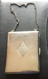 Antique Sterling Silver Dance Purse With Compact Mirror Cards Coin Holder