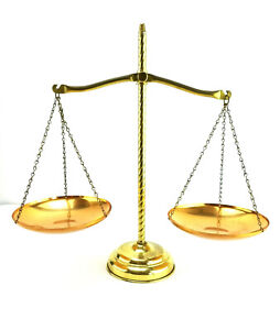 Vintage Brass Scales Of Justice Legal Office Lawyer
