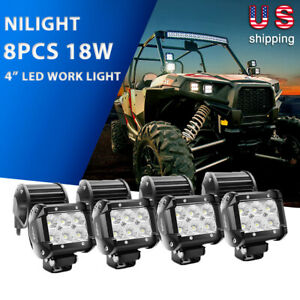 Nilight Led Light Bar 10pcs 4inch Flood Pods Fog Driving Lights For Jeep Offroad