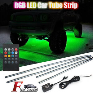 8 Color Rgb Led Strip Under Car Tube Underglow Underbody System Neon Lights Kits