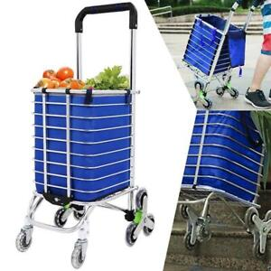 Stair Climbing Rolling Folding Shopping Trolley Cart For Grocery Laundry Sports