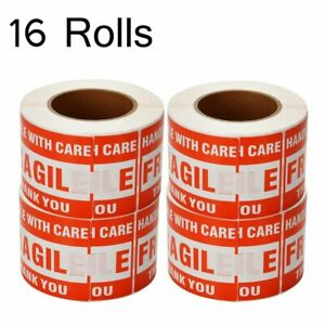 16 Roll 8000 Label 3 X 5 Handle With Care Fragile Thank You Red Warning Label