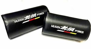 2pcs Mugen Power Carbon Fiber Embroidery Car Seat Neck Cushion Pillow Headrest