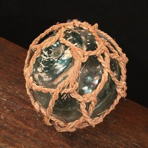 Vtg Glass Buoy Fishing Float Nautical Decor Coastal Beach Net Priority Mail A