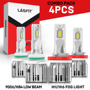 Lasfit H11 9006 Led Combo Headlight And Fog Light Bulbs White Bright Real 7600lm