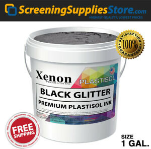 Xenon Black Glitter Plastisol Ink For Screen Printing 1 Gallon 128oz