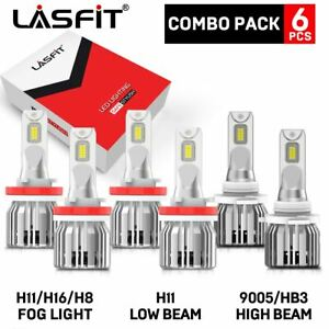 Lasfit H11 h11 9005 Led Combo Headlight High low Beam fog Light Bulb 3pair White