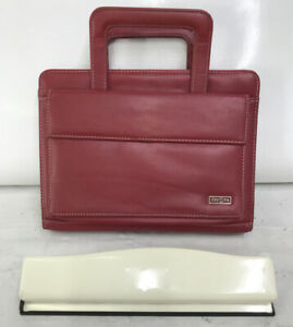 Classic Franklin Covey Planner Red Sim Leather Zip 1 25 7 Rings Handles Purse