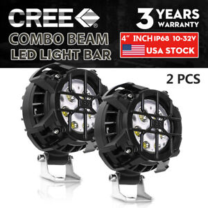 Pair 4inch 100w Round Led Work Light Bar Spot Flood Offroad Driving Fog Lamp