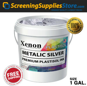 Xenon Metallic Silver Plastisol Ink For Screen Printing 1 Gallon 128oz