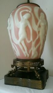 Art Deco Table Lamp Phoenix Consolidated Art Glass Dancing Nudes Nymphs C 1930