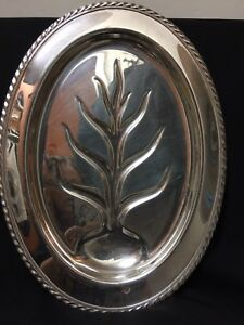 Vintage Wm Rogers 4110 Silverplate Footed Tree Of Life Oval Tray